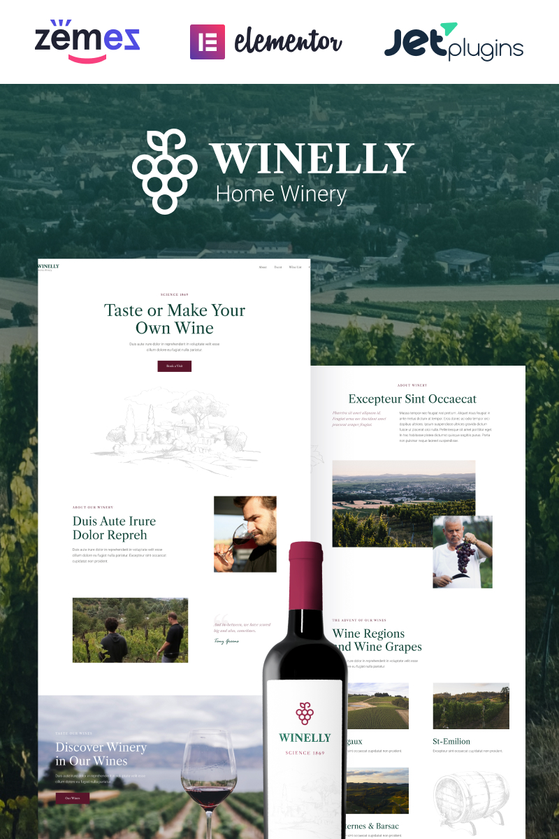 """""""Winelly - Wine Tasting Theme To Make Your Tours Unforgettable"""" thème WordPress adaptatif #95585"""