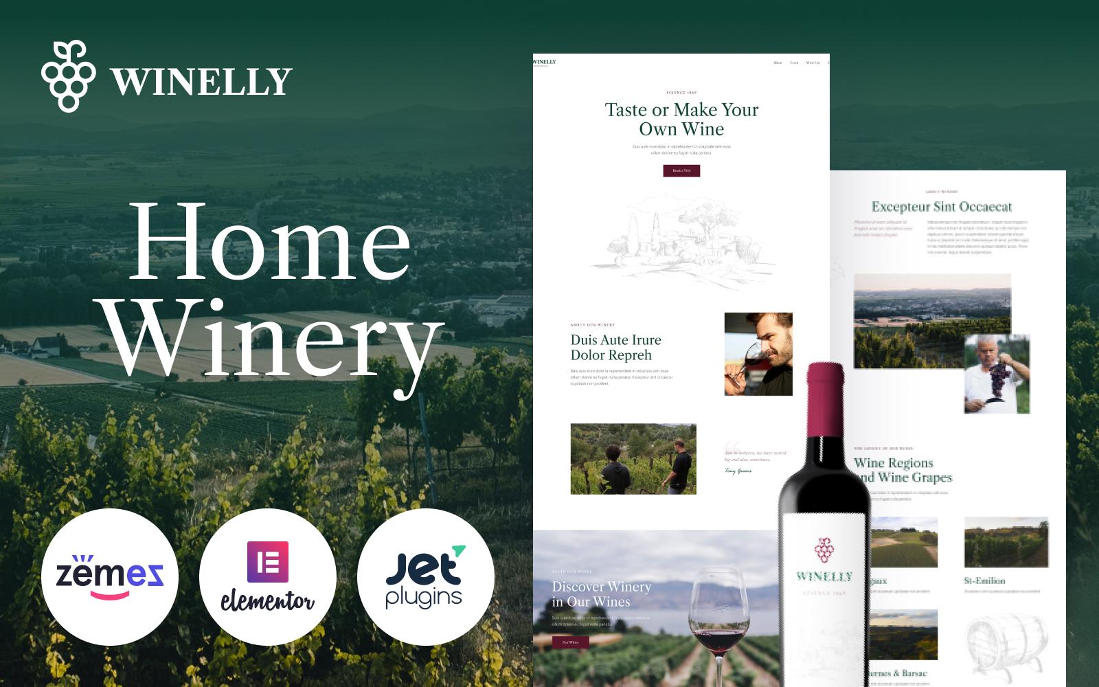 """Winelly - Wine Tasting Theme with Elementor"" 响应式WordPress模板 #95585"