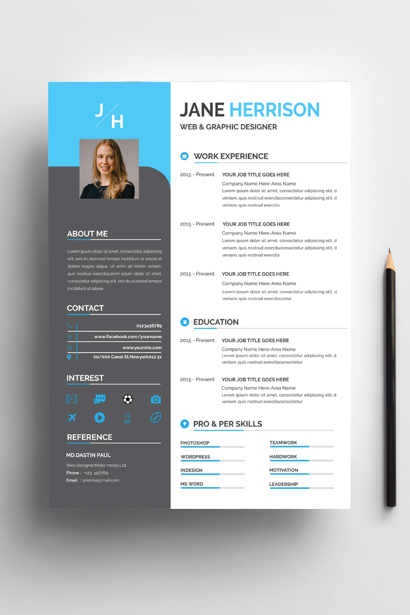 Jane Professional CV Resume Template - screenshot