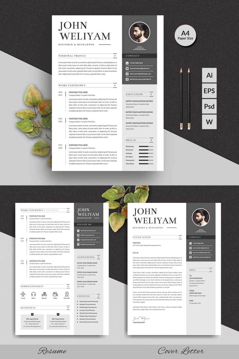 John Modern Resume Template - screenshot