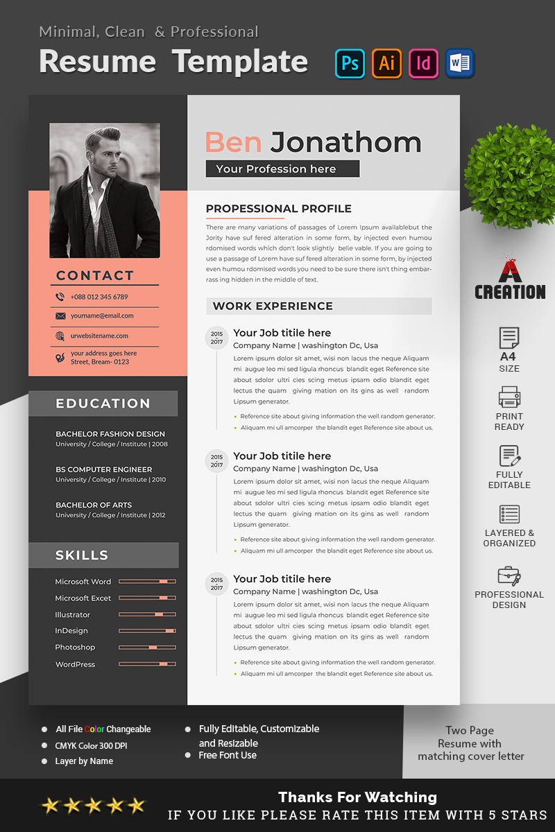 "Lebenslauf-Vorlage namens ""Ben Jonathon Editable"" #95670"