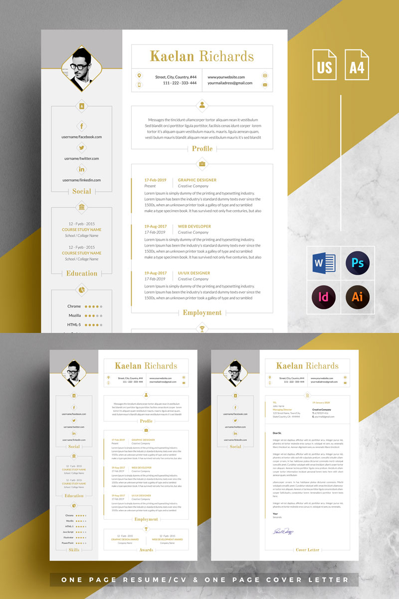 Word & Cover Letter Resume Template - screenshot