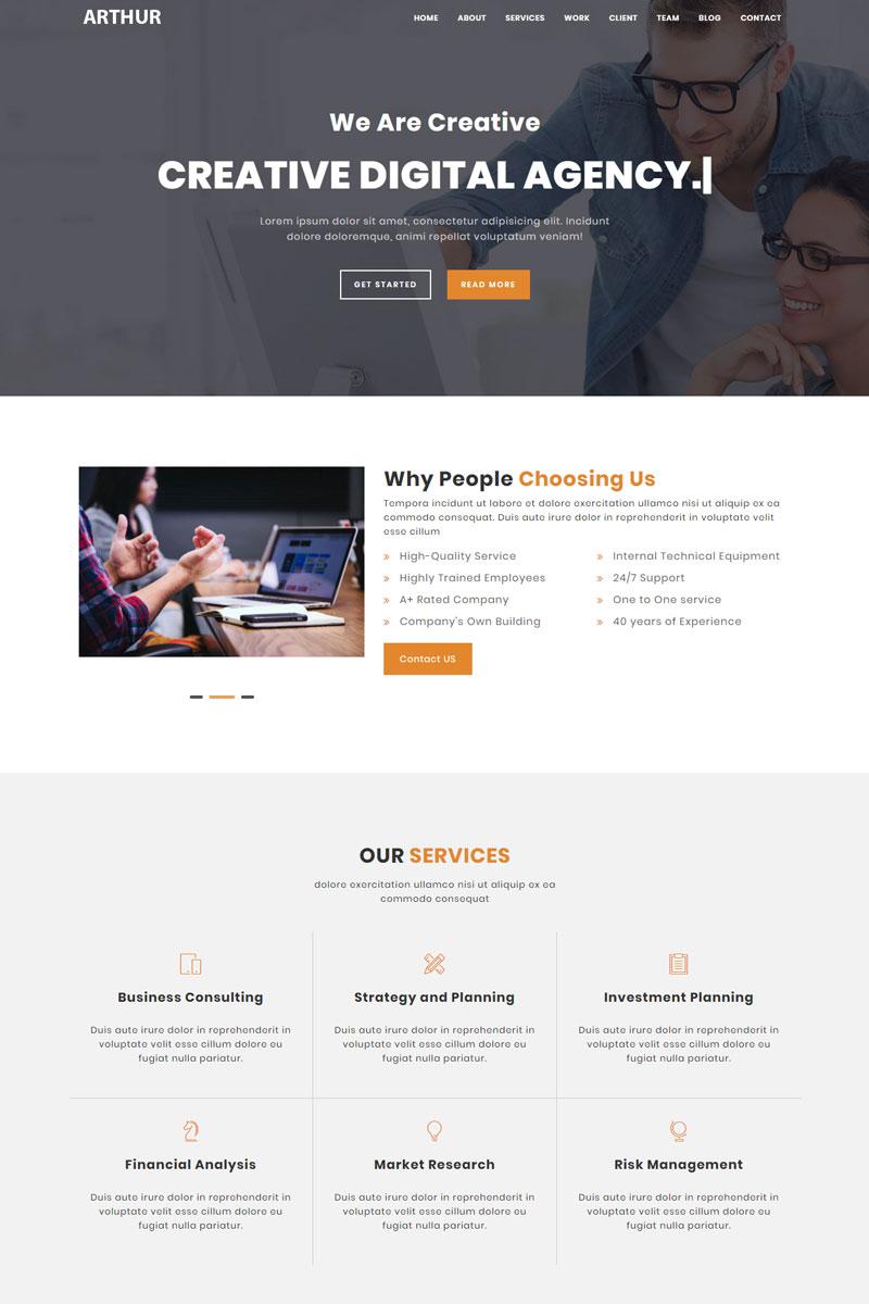 Responsivt Arthur - Multipurpose HTML Landing Page-mall #95790 - skärmbild