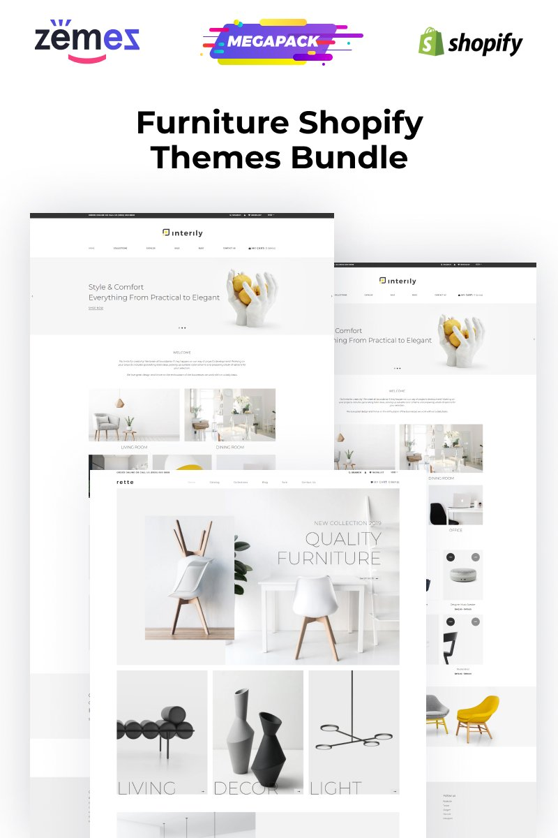 """Tema Shopify """"Shopify Themes for Furniture Websites"""" #95744"""