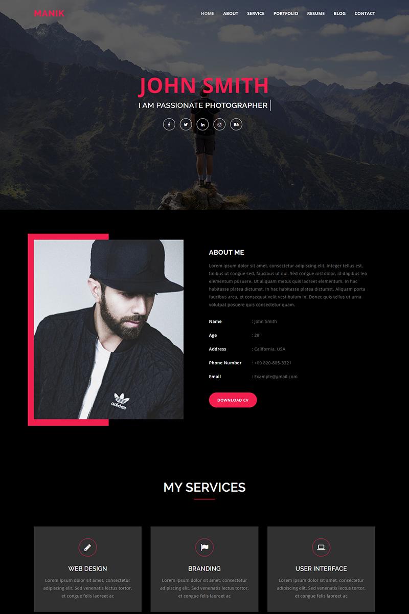 Manik Personal Portfolio Landing Page Template