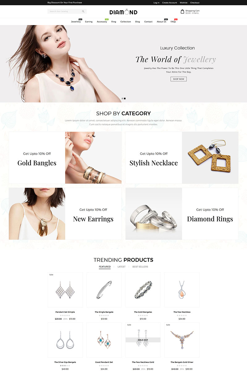 Diamond Jewellery Tema de Shopify №95803