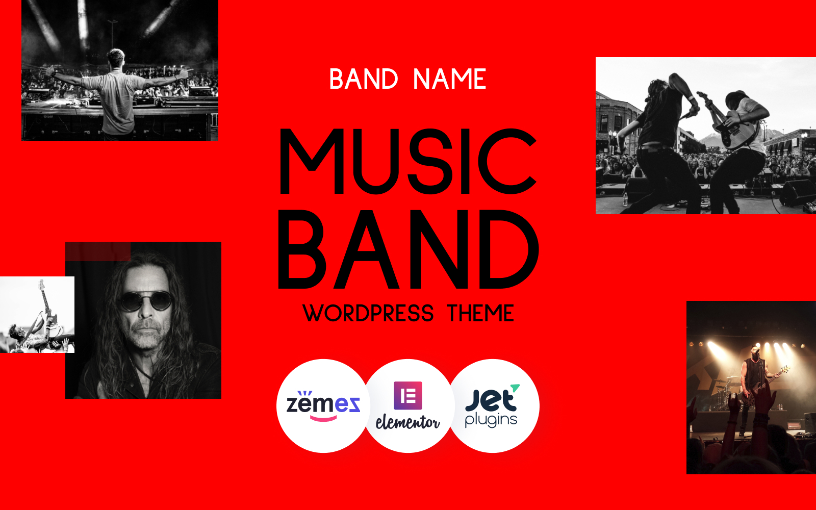"""Freebone - Wordpress Music Band"" 响应式WordPress模板 #95802"
