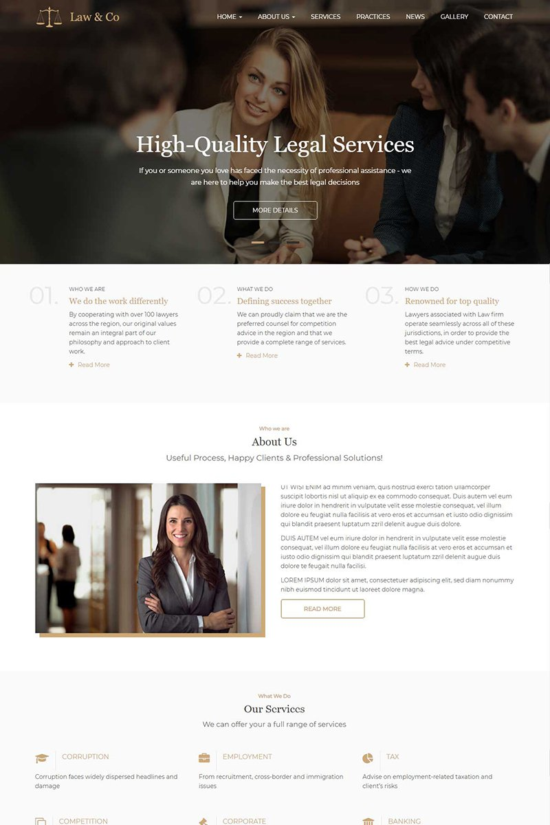 """Law & Co - Responsive"" Responsive Drupal Template №95850"