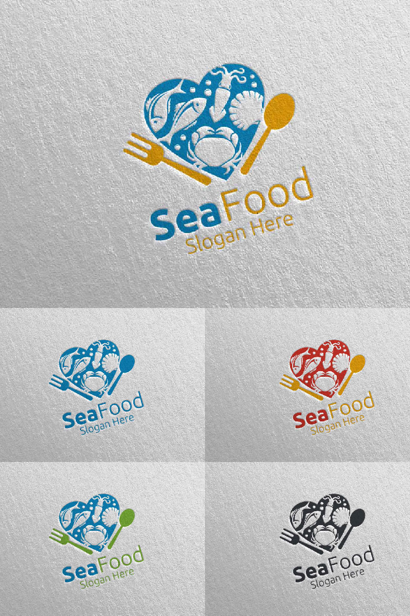 Love Seafood for Restaurant or Cafe 86 Logo Template - screenshot