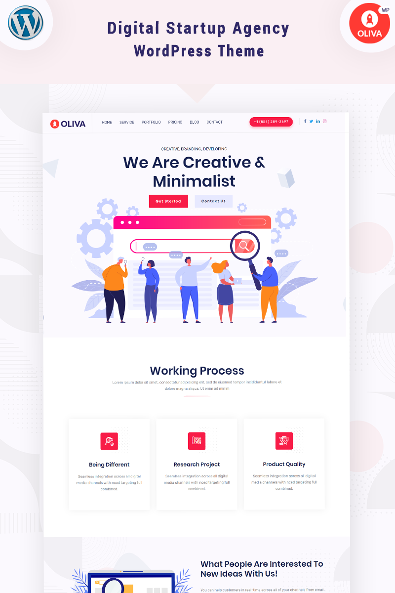 Oliva - Digital Startup Agency Tema WordPress №95805