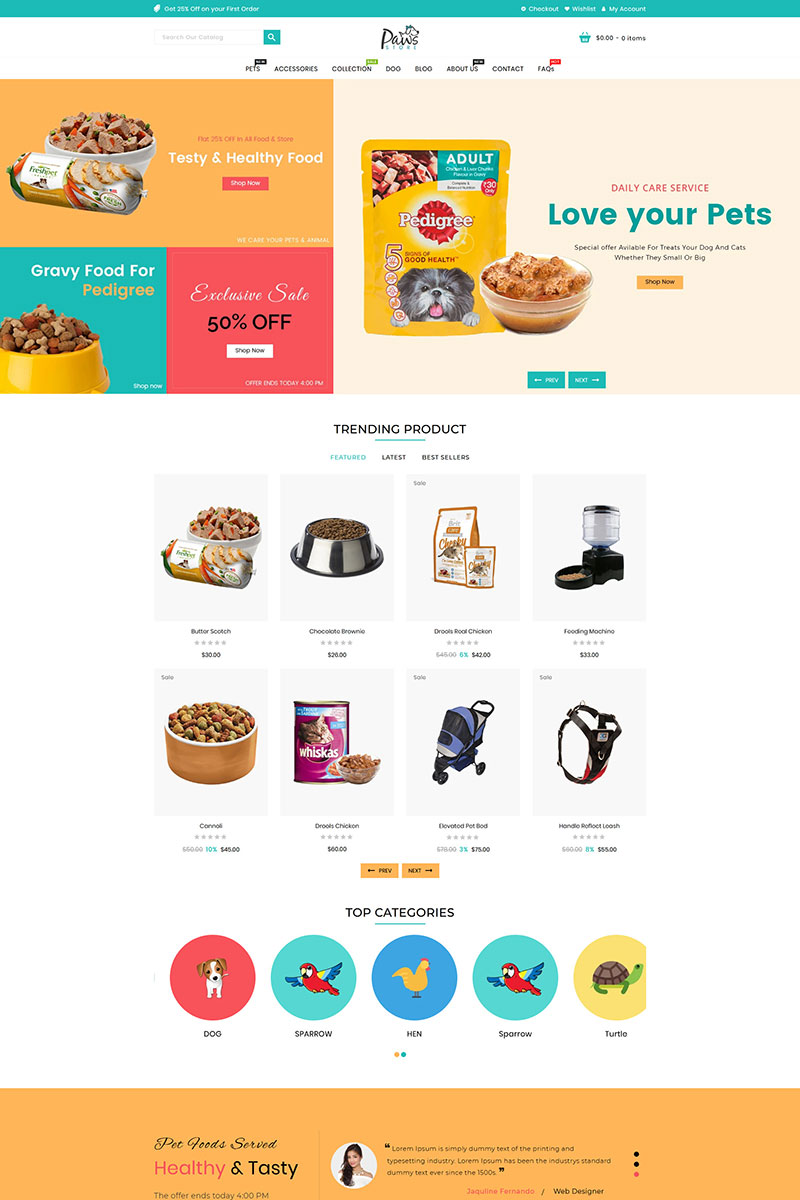 """""""Paws Pet Store"""" 响应式Shopify模板 #95851"""