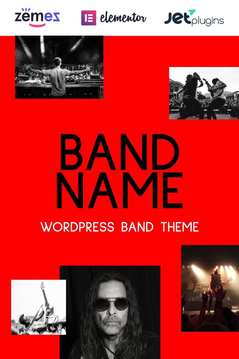 Responsywny motyw WordPress Freebone - Wordpress Music Band #95802