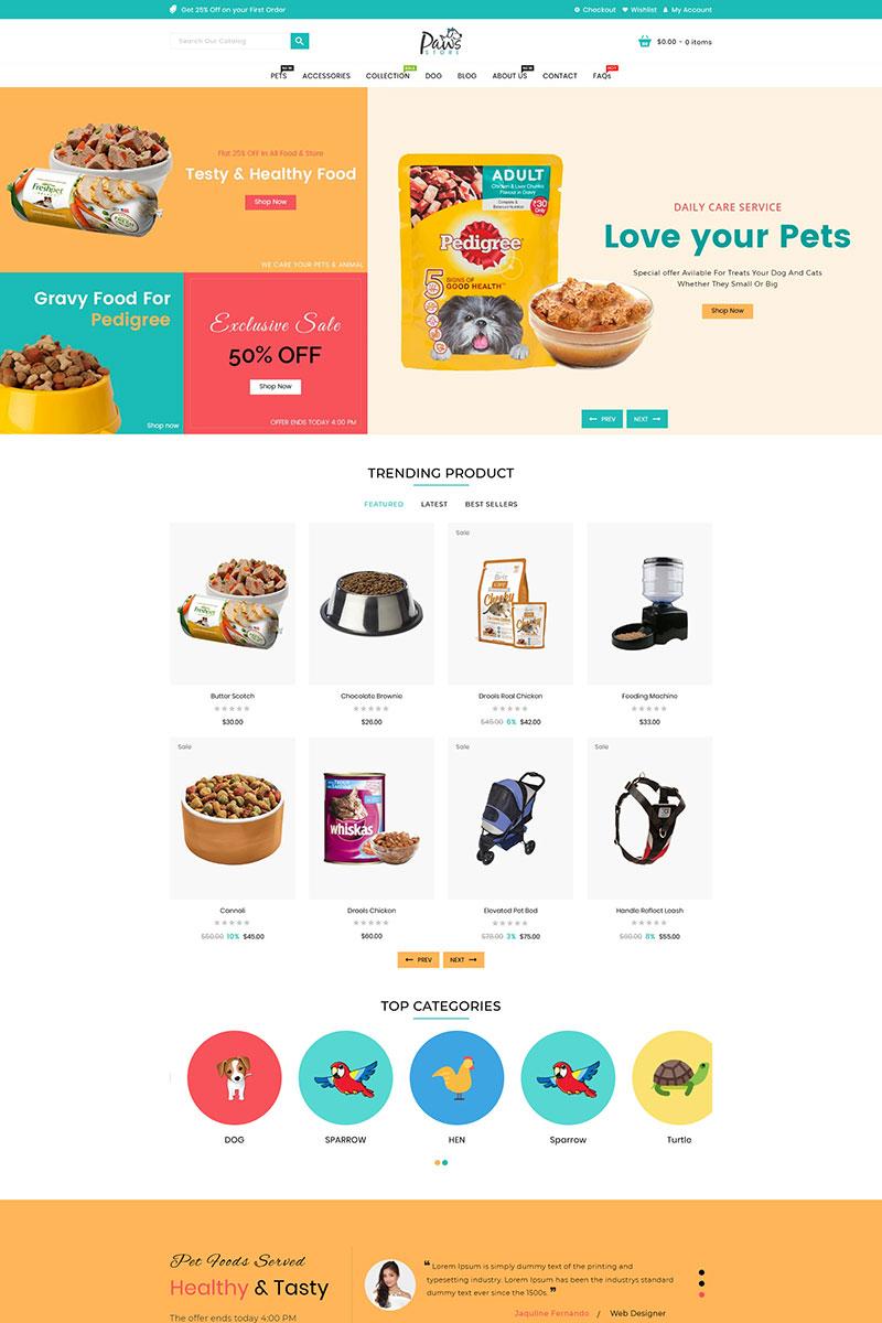 Responsywny szablon Shopify Paws Pet Store #95851