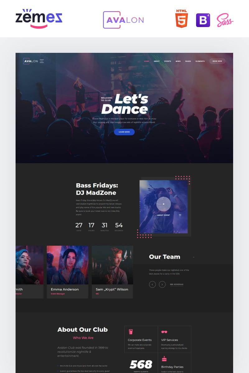 """Avalon - Night Club Responsive"" Responsive Website template №95940"