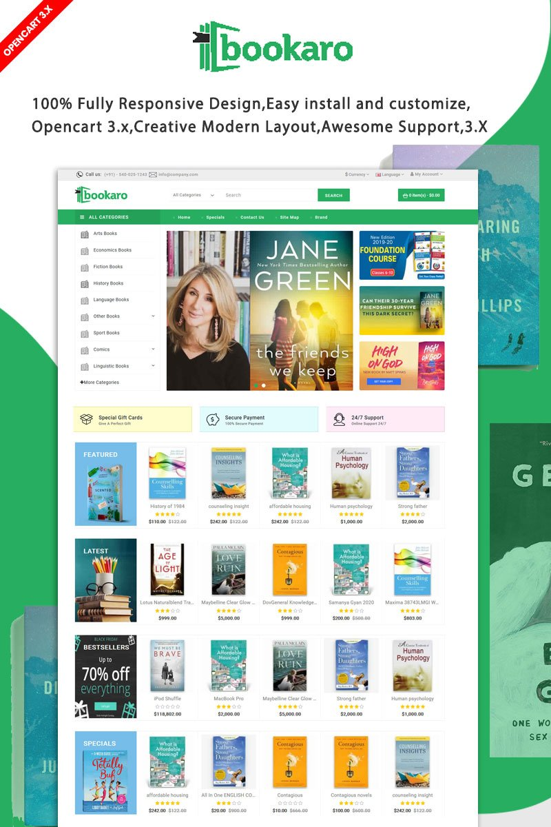 Bookaro Online library Shop OpenCart Template - screenshot