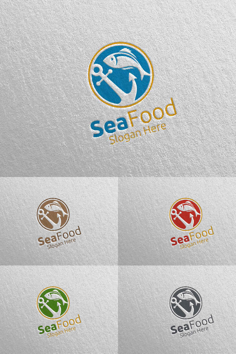 Fish Seafood for Restaurant or Cafe 98 Logo Template - screenshot