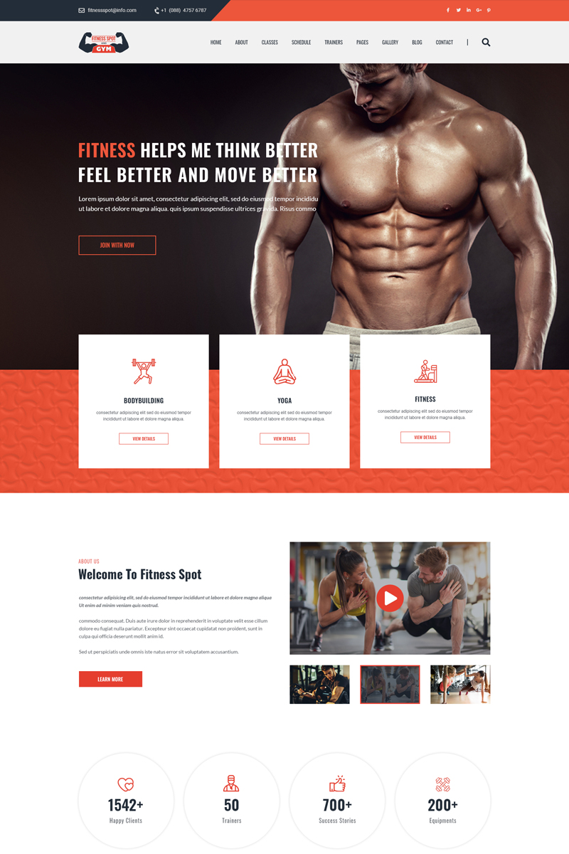 FitnessSpot  |  Gym and Fitness Homepage PSD-mall #95948
