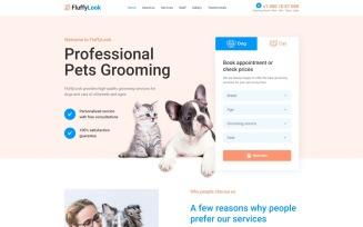 FluffyLook - Pet Grooming Clean Landing Page Template
