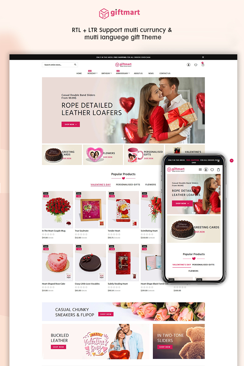 """Giftmart - The Gift & Fashion Responsive"" - адаптивний Shopify шаблон №95907"