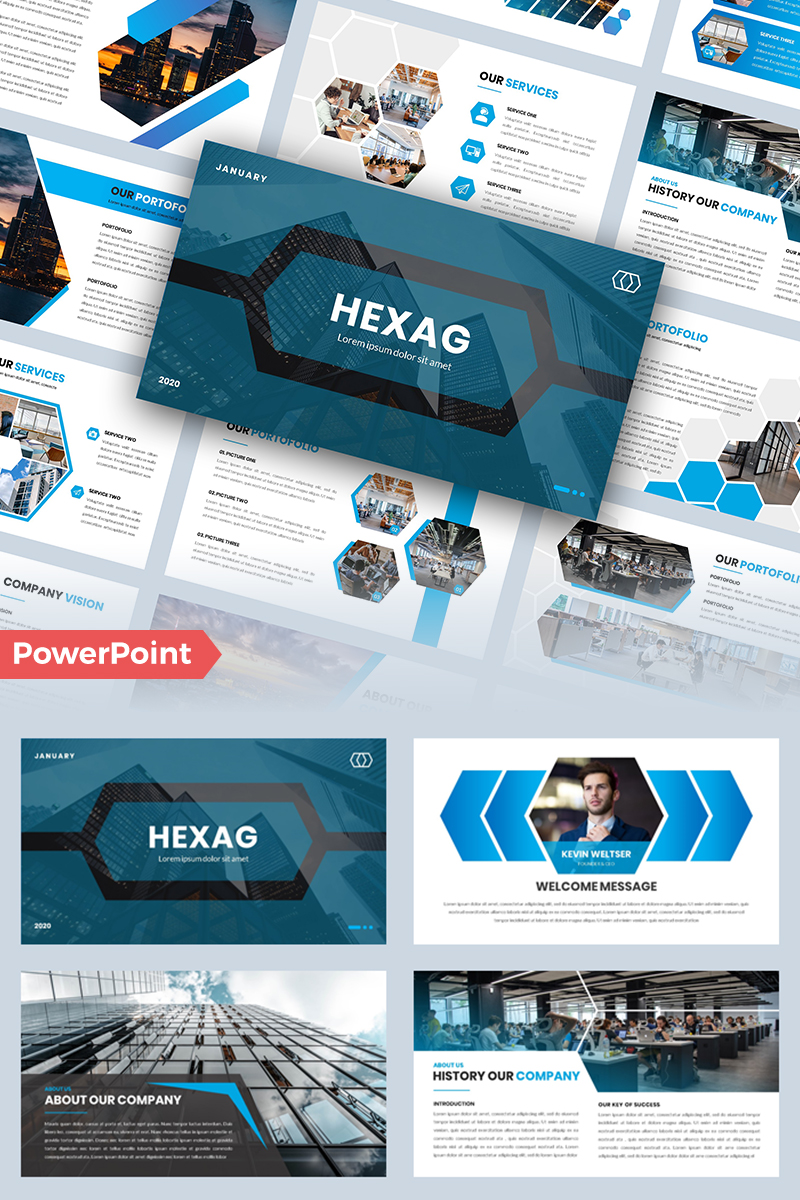 Hexag – Business Powerpoint #95977