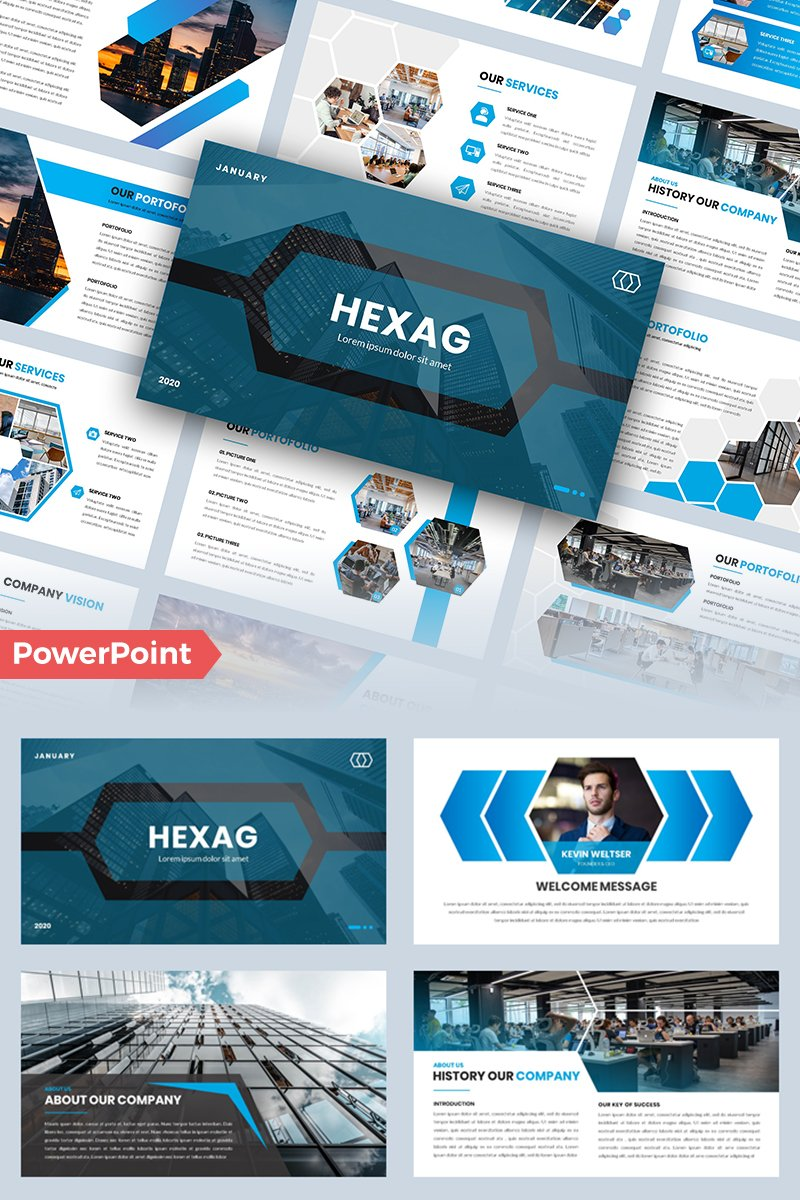 """Hexag – Business"" - PowerPoint шаблон №95977"