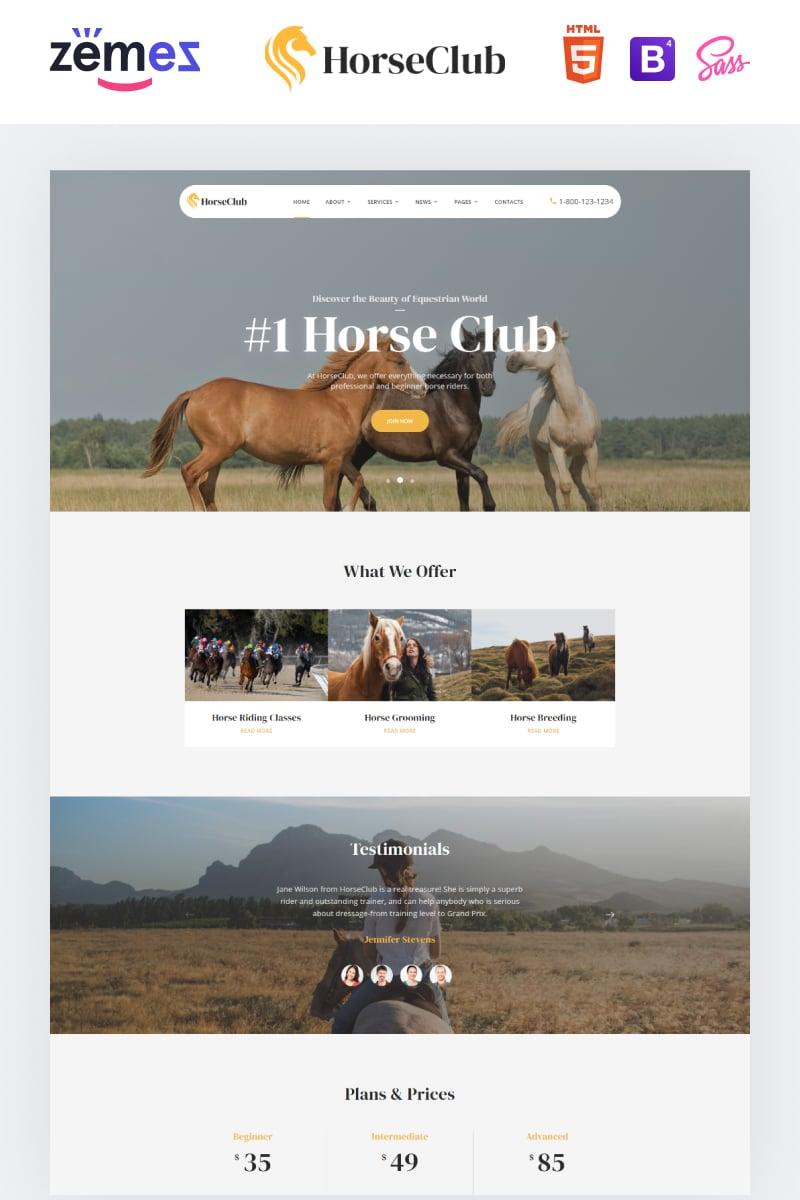 "Modello Siti Web Responsive #95960 ""HorseClub - Elegant Animals Multipage HTML"""