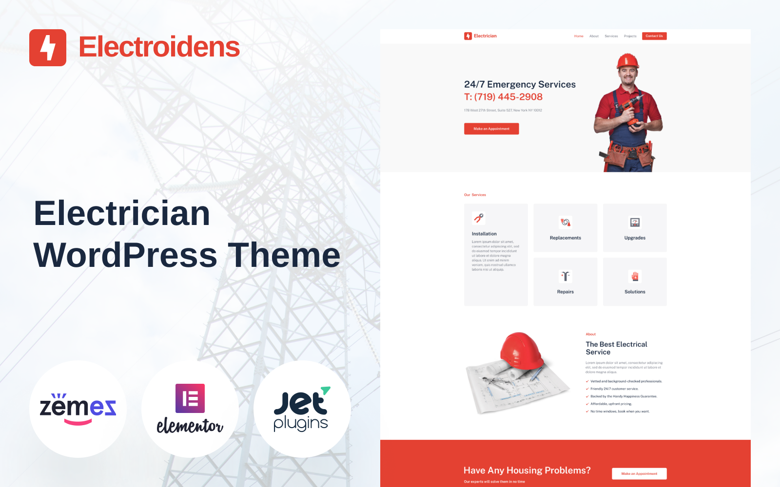 "Modello WordPress Responsive #95951 ""Electroidens - Electrician website with Elementor"""