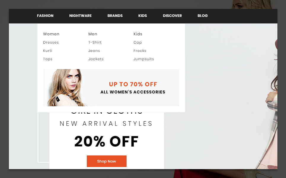 "PrestaShop Theme namens ""Mark Fashion and Shoes Store"" #95954 - Screenshot"