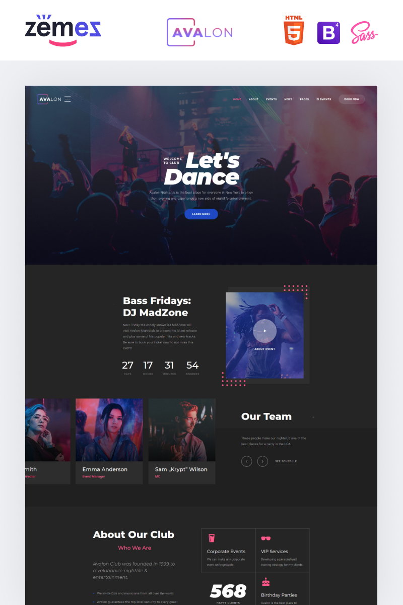 Responsivt Avalon - Night Club Responsive Hemsidemall #95940 - skärmbild