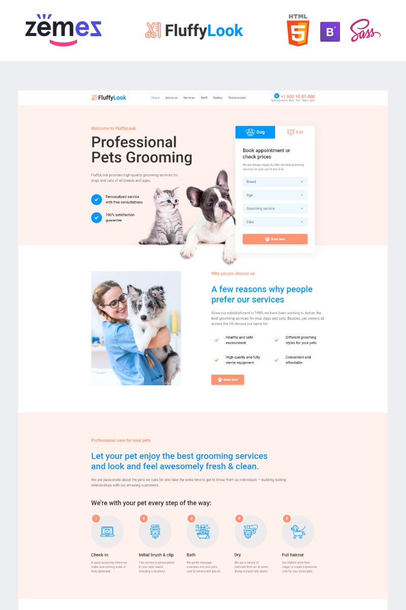 Responsivt FluffyLook - Pet Grooming Clean Landing Page-mall #95956