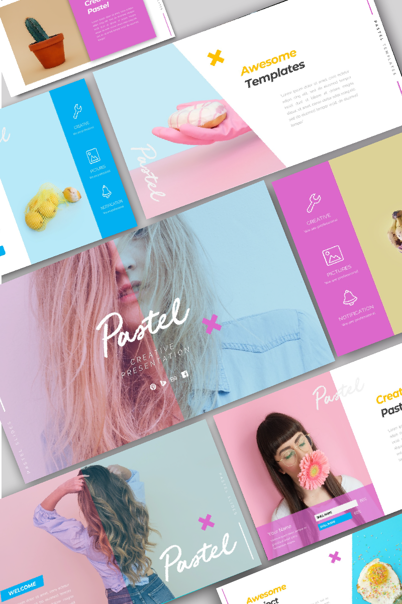 Responsivt Pastel Creative PowerPointmall #95976 - skärmbild