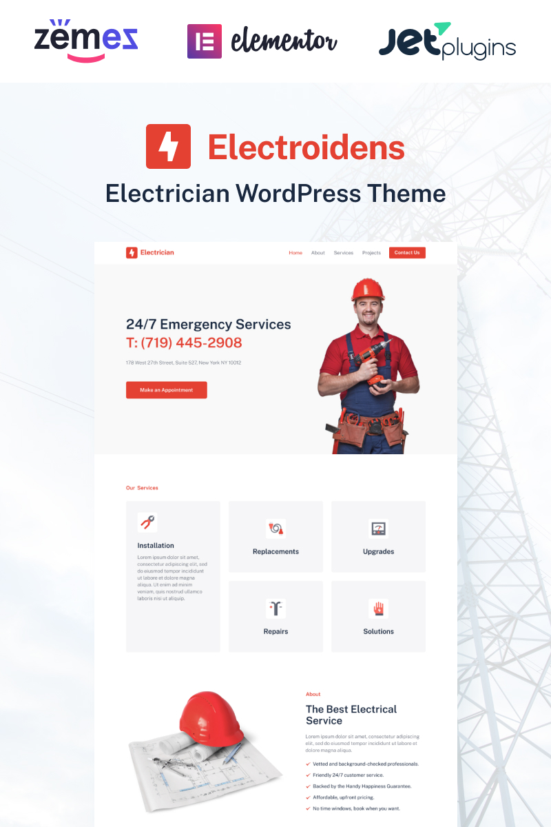 Responsywny motyw WordPress Electroidens - Perfect Example of Electrician Websites #95951