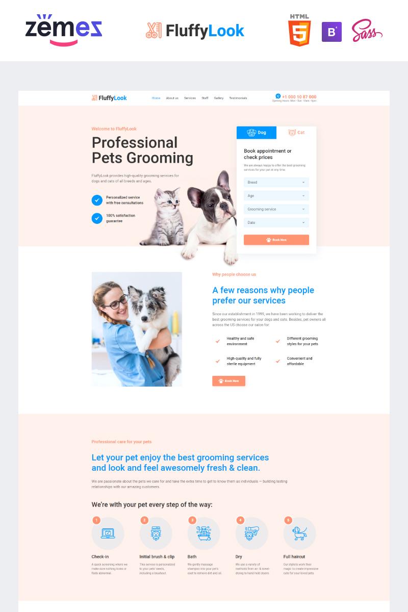 Reszponzív FluffyLook - Pet Grooming Clean Nyítóoldal sablon 95956
