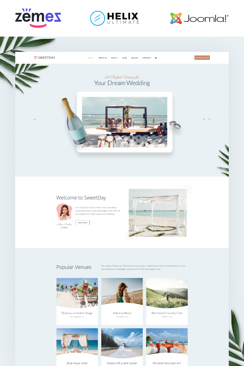 Reszponzív Sweetday - Wedding Venues Multipage Joomla sablon 95959