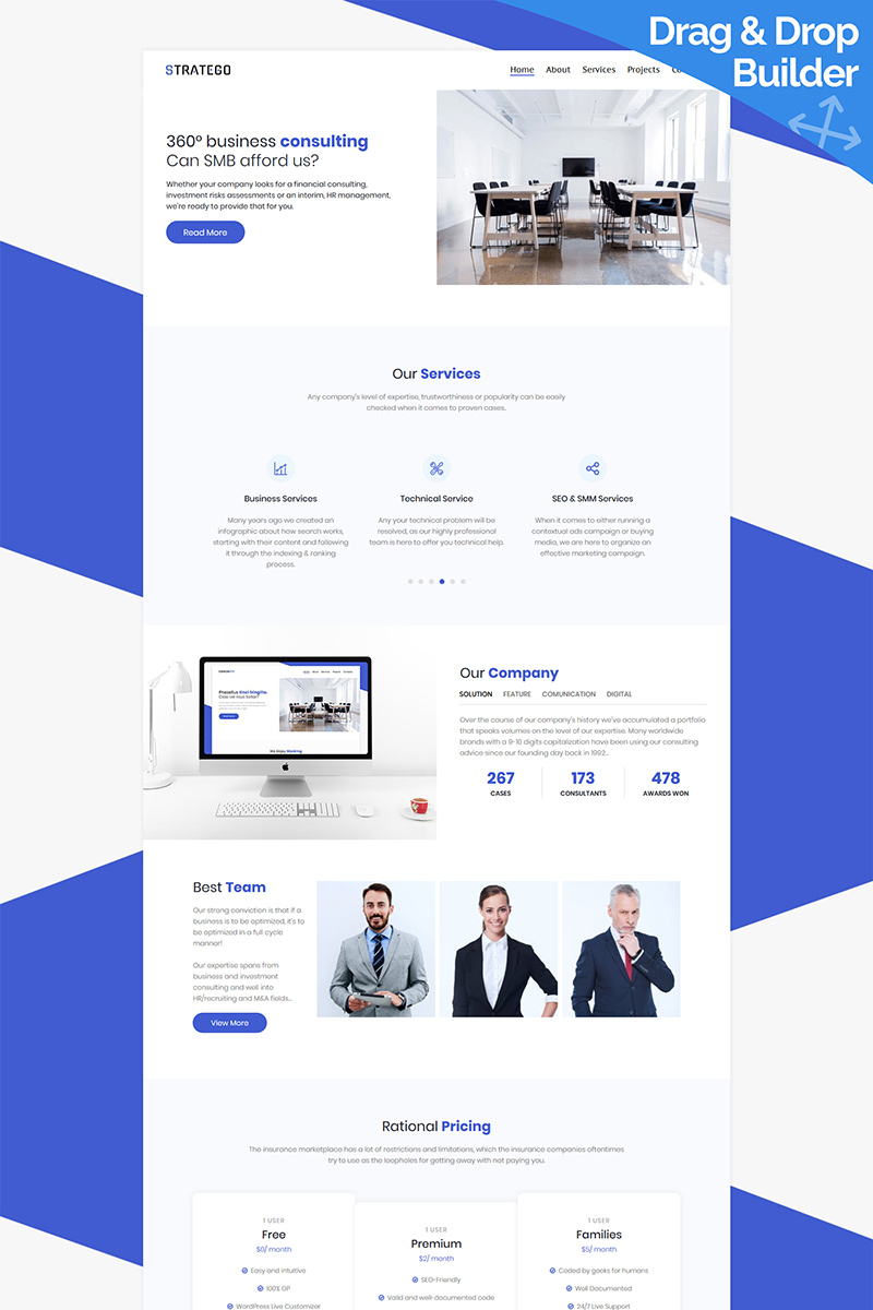 """""""Stratego - Business"""" Responsive Moto CMS 3 Template №95957"""