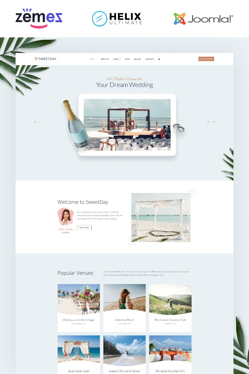 Sweetday - Wedding Venues Multipage Joomla Template