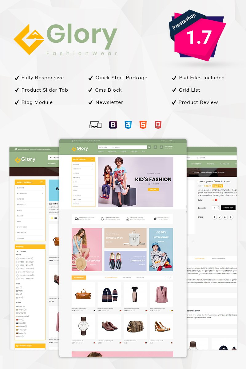 "Tema De PrestaShop ""Glory Fashion Wear"" #95905"