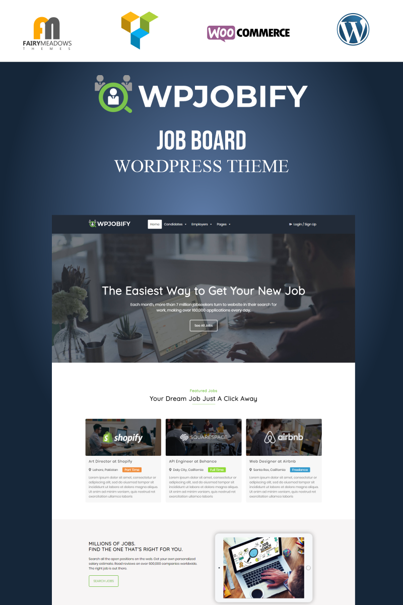 "Template WordPress Responsive #95953 ""WPJobify - Job Board"""