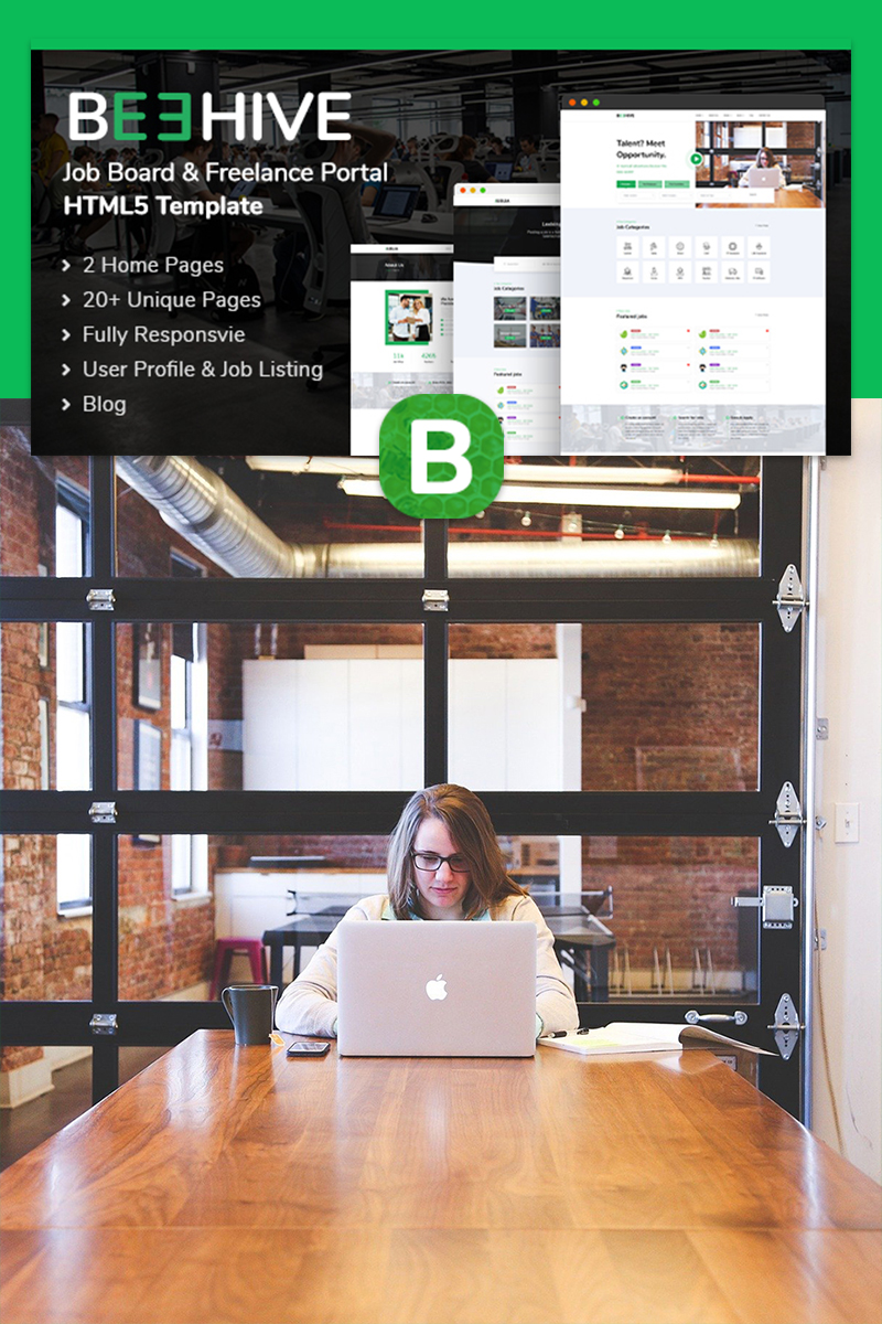 "Website Vorlage namens ""Beehive   Job Listing HTML5"" #95950 - Screenshot"