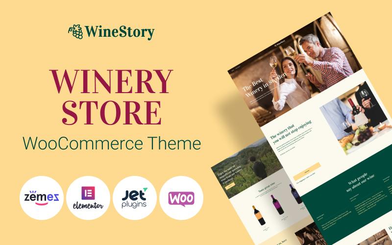 """WineStory - Genuine And Charming Winery"" - адаптивний WooCommerce шаблон №95958"