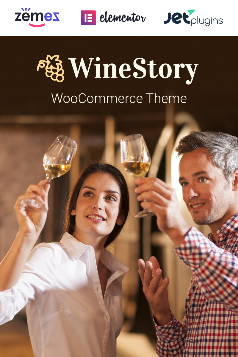 """WineStory - Genuine And Charming Winery"" Responsive WooCommerce Thema №95958"