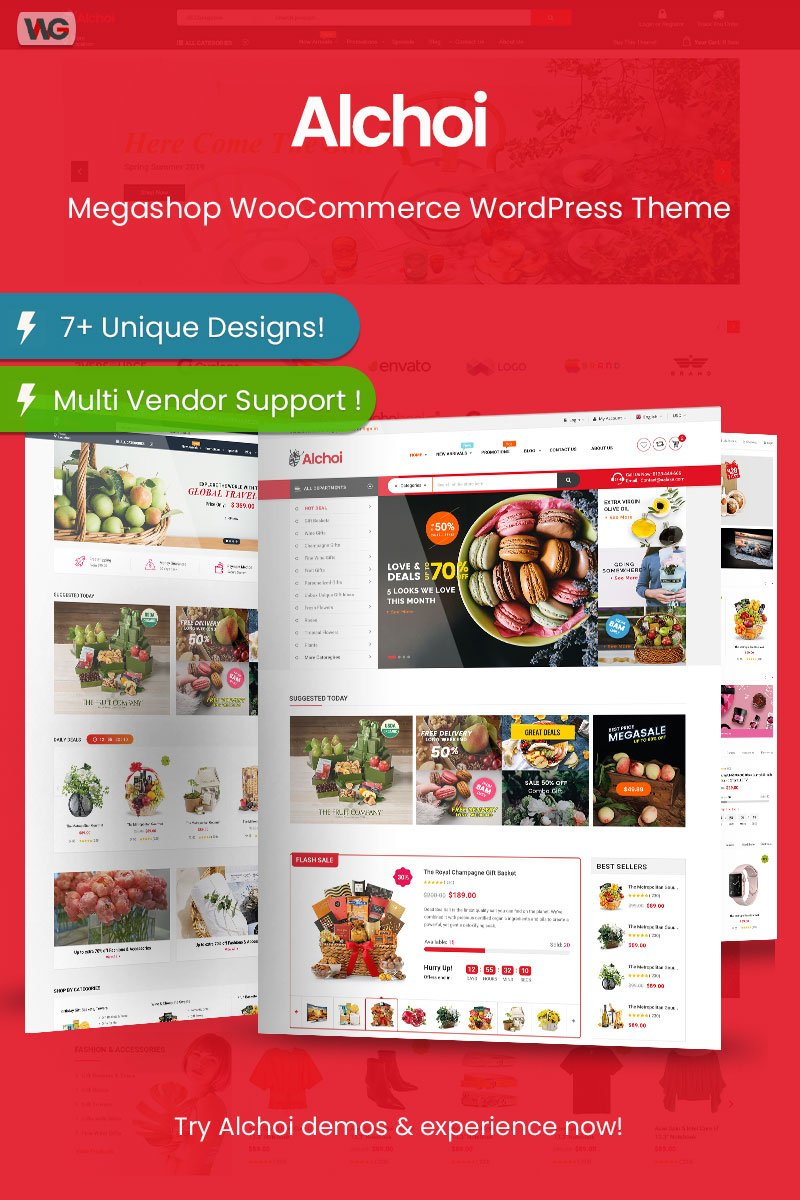"WooCommerce Theme namens ""Alchoi - Megastore MarketPlace"" #95955"