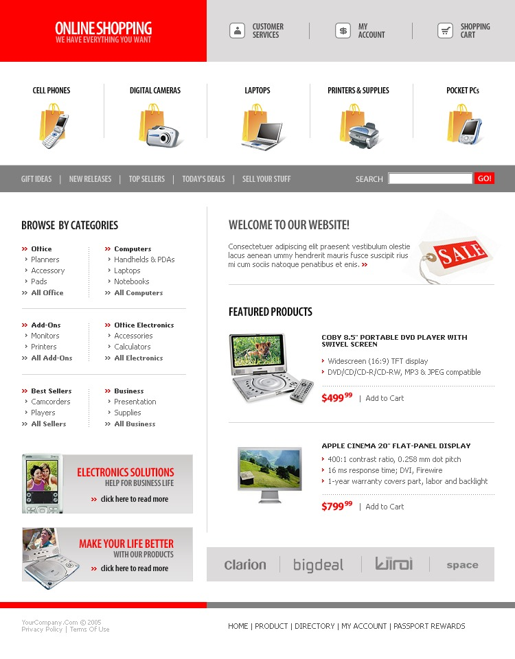 computer store website template 9618