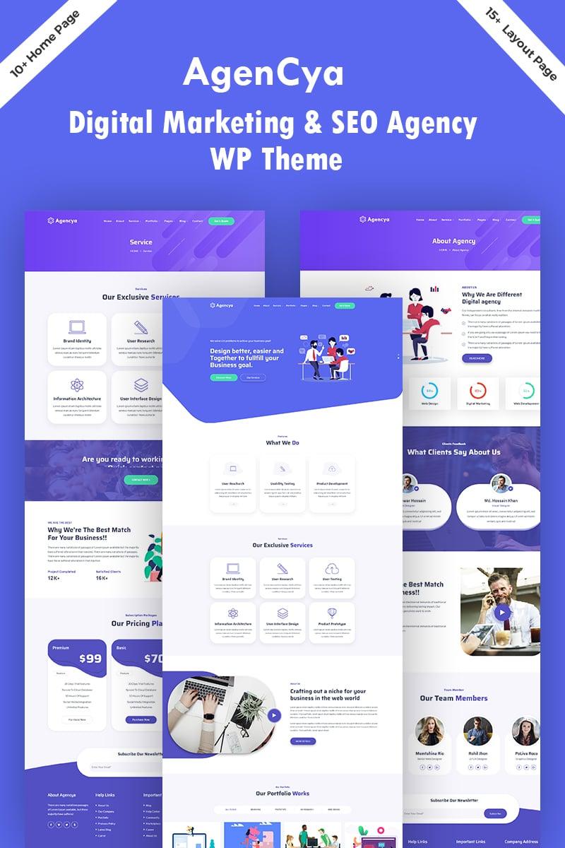 """Agencya - Digital Marketing & SEO  Agency"" - адаптивний WordPress шаблон №96089"