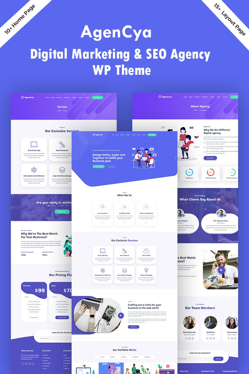 """Agencya - Digital Marketing & SEO  Agency"" Responsive WordPress thema №96089"