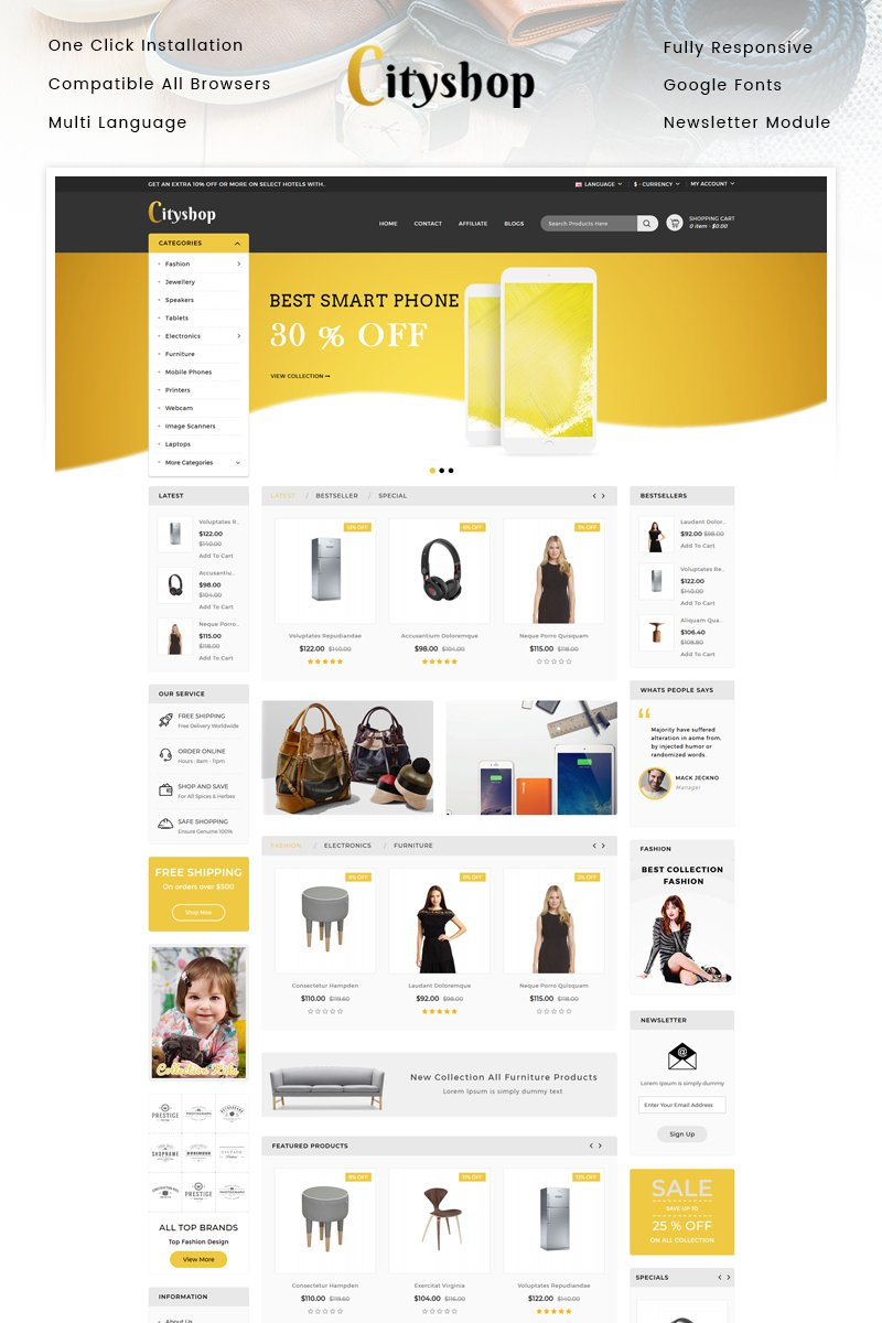 """Cityshop - Multipurpose Store"" - адаптивний OpenCart шаблон №96096"