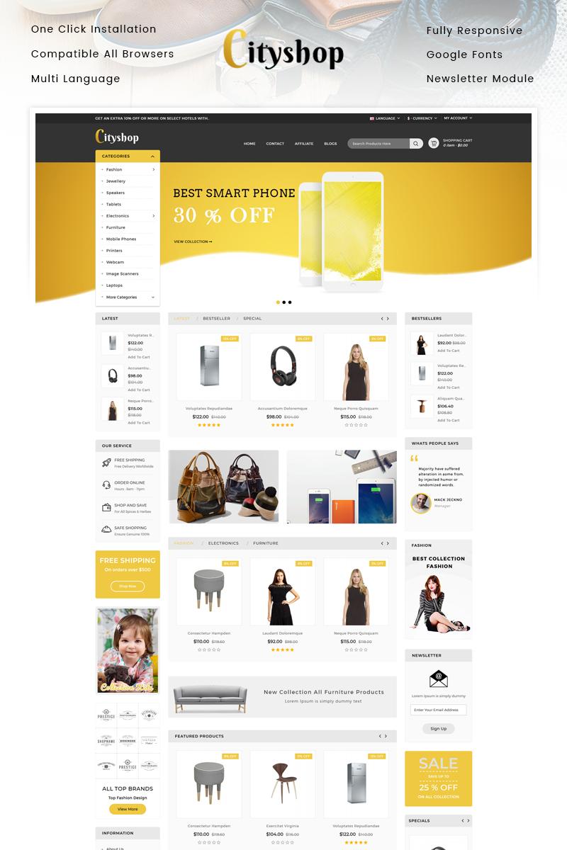 """Cityshop - Multipurpose Store"" Responsive OpenCart Template №96096"