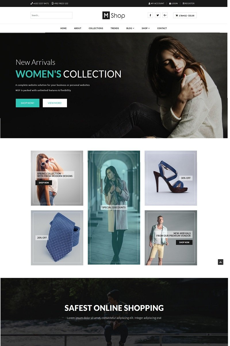 """Mofshop - Minimalist Store with Page Builder"" Responsive Joomla Template №96093"