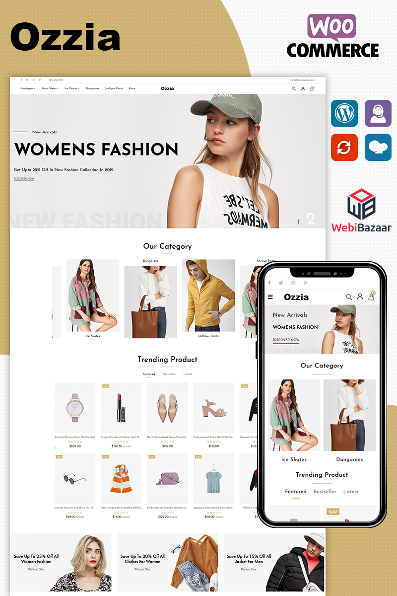 """Ozzia - Fashion Premium"" Responsive WooCommerce Thema №96091"