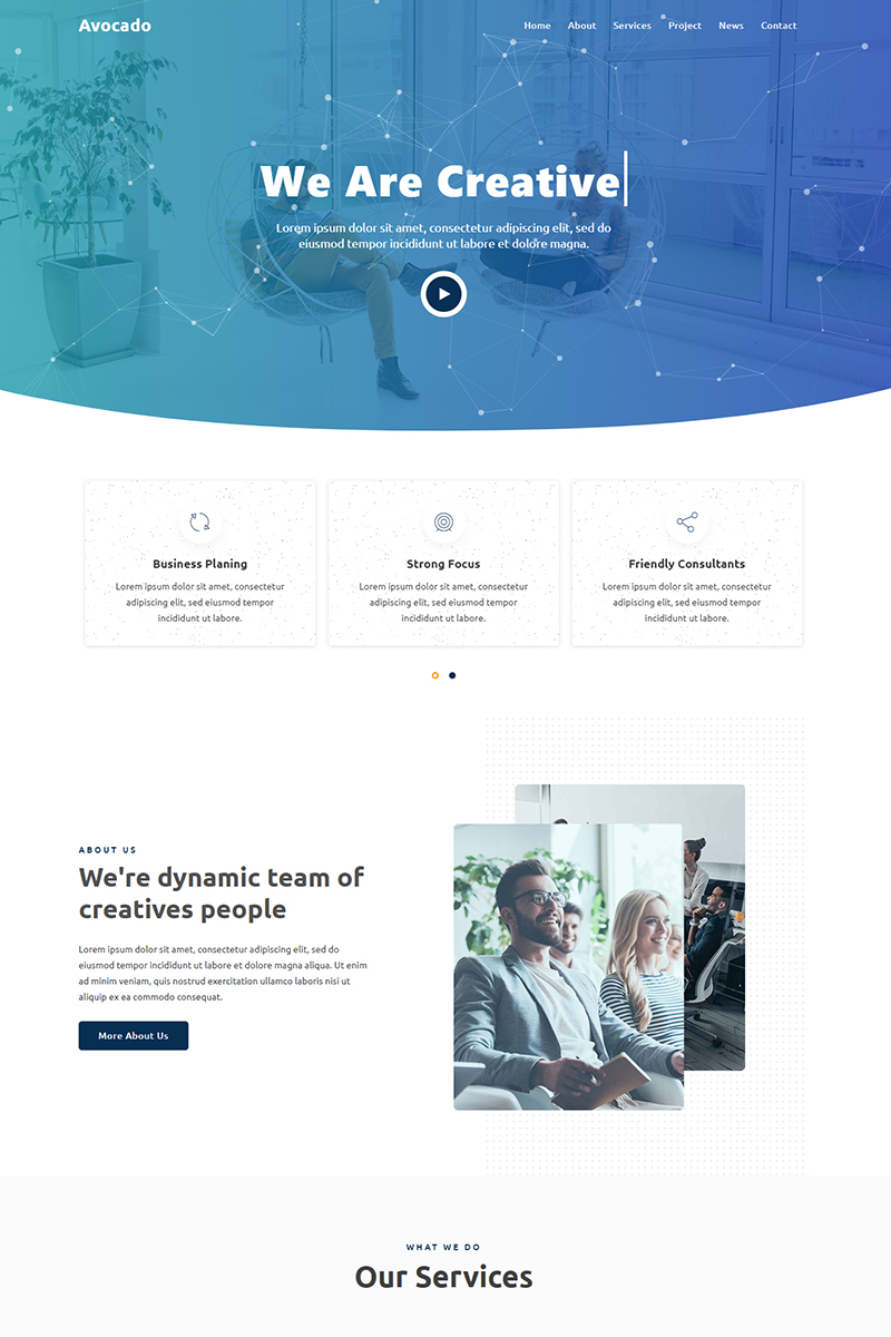 Responsivt Avocado - Agency Landing Page-mall #96092